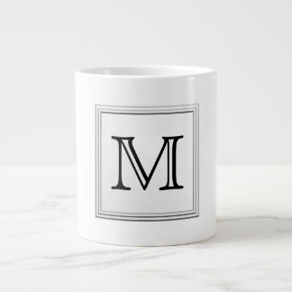 Printed Custom Monogram. Black and White. Jumbo Mugs