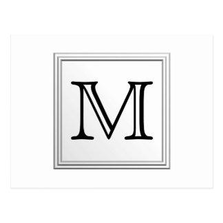 Printed Custom Monogram. Black and White. Postcard