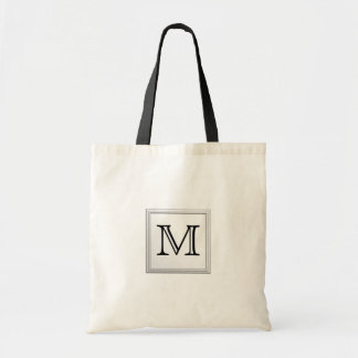 Printed Custom Monogram. Black and White. Budget Tote Bag