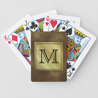 Printed Custom Monogram Image. Brown. Bicycle Playing Cards