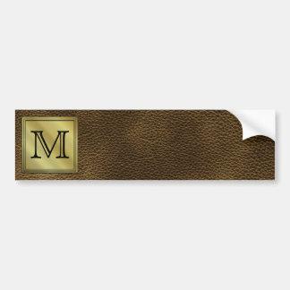Printed Custom Monogram Image. Brown. Car Bumper Sticker