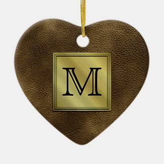 Printed Custom Monogram Image. Brown. Christmas Ornament