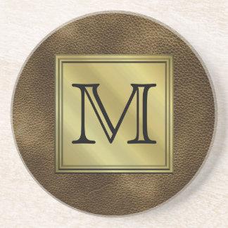 Printed Custom Monogram Image. Brown. Drink Coasters