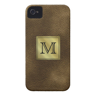 Printed Custom Monogram Image. Brown. iPhone 4 Case