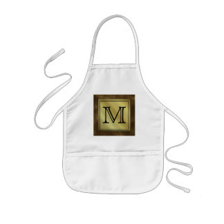 Printed Custom Monogram Image. Brown. Kids Apron