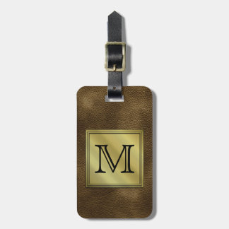 Printed Custom Monogram Image. Brown. Luggage Tag