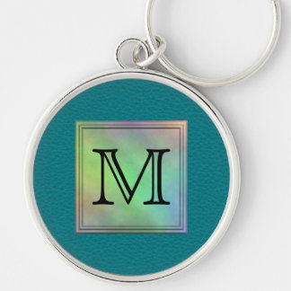 Printed Custom Monogram Image on Teal Pattern. Key Ring