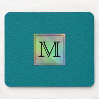 Printed Custom Monogram Image on Teal Pattern. Mouse Mat