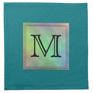 Printed Custom Monogram Image on Teal Pattern. Napkin