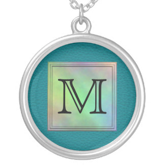 Printed Custom Monogram Image on Teal Pattern. Silver Plated Necklace