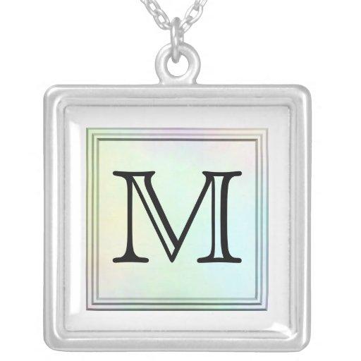 Printed Custom Monogram Image. Pretty, multicolor. Square Pendant Necklace