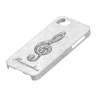 Printed Diamond Music Note Floral Damask Barely There iPhone 5 Case