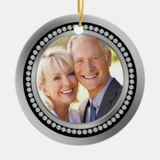Printed diamonds 25th Wedding Anniversary Ornament