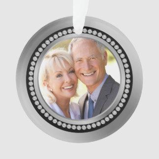Printed diamonds 25th Wedding Anniversary Ornament