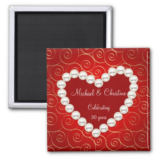 Printed Faux pearl red and gold anniversary Magnet