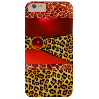 PRINTED GIRAFFE LEOPARD SKIN RED RUBY GEMSTONE BARELY THERE iPhone 6 PLUS CASE
