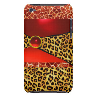 PRINTED GIRAFFE LEOPARD SKIN RED RUBY GEMSTONE iPod TOUCH CASES