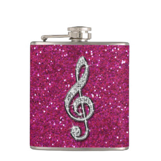 Printed Glitzy Sparkly Diamond Music Note Hip Flask