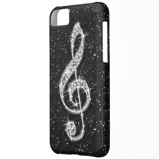 Printed Glitzy Sparkly Diamond Music Note iPhone 5C Case