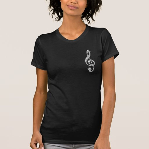 Printed Glitzy Sparkly Diamond Music Note Tee Shirt