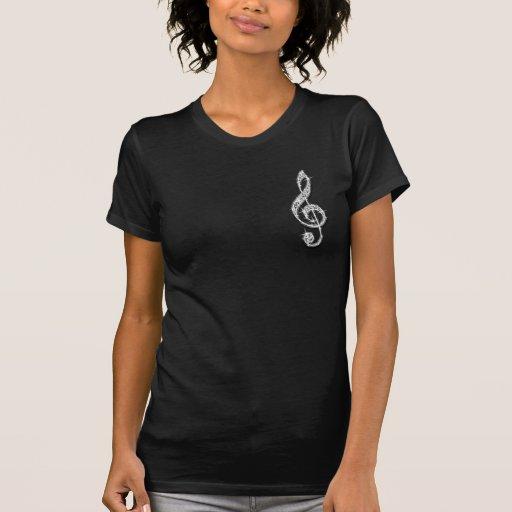 Printed Glitzy Sparkly Diamond Music Note Tee Shirt