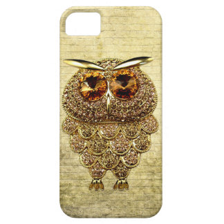 Printed Gold & Amber Owl Jewel Barely There iPhone 5 Case