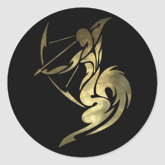 Printed Gold Color Sagittarius Archer Classic Round Sticker