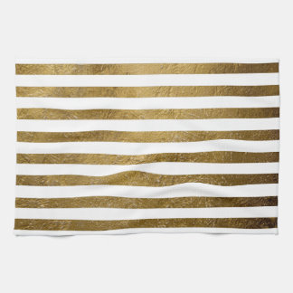 printed gold color stripes towels