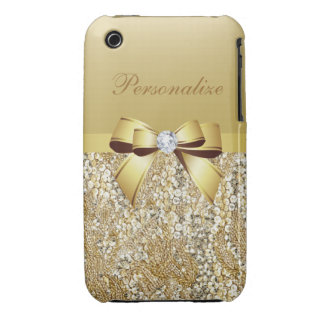 Printed Gold Sequins, Bow & Diamond iPhone 3 Case-Mate Cases
