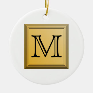 Printed image of a custom monogram design. christmas ornament