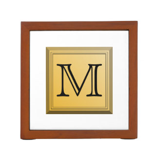 Printed image of a custom monogram design. desk organiser