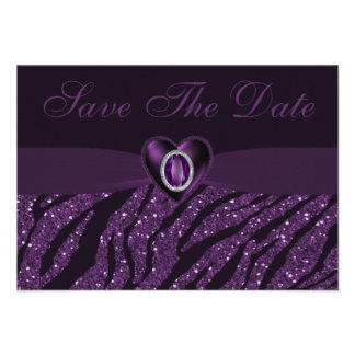 Printed Jewel Heart Glitter Save the Date Invitation