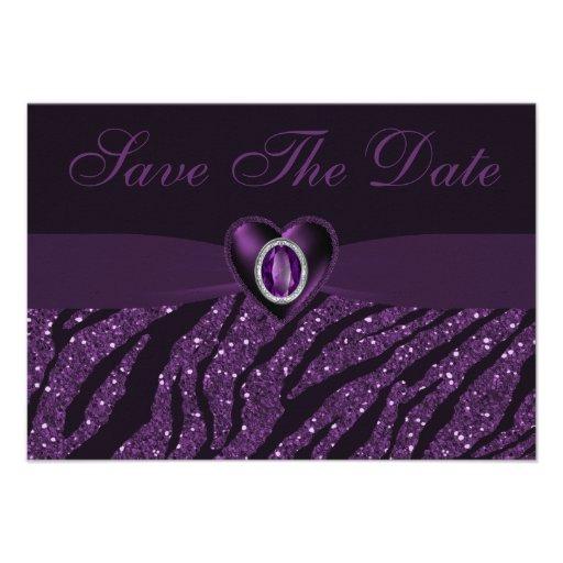 Printed Jewel Heart & Glitter Save the Date Invitation