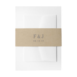 Printed Kraft Monogram Invitation Belly Band