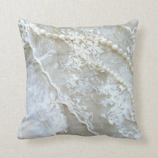 Printed Lace Pearls Decorative Throw Pillow