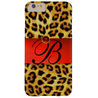 PRINTED LEOPARD FUR RED RUBY GEMSTONE MONOGRAM, BARELY THERE iPhone 6 PLUS CASE