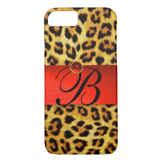 PRINTED LEOPARD FUR RED RUBY GEMSTONE MONOGRAM, iPhone 7 CASE