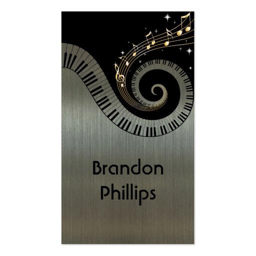 Printed Metallic effect Piano Keys Gold Music Business Card Template