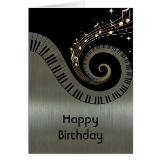 Printed Metallic effect Piano Keys Gold Music Card