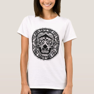 Printed metallic silver effect sugar skull T-Shirt