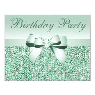 Printed Mint Green Sequins, Bow & Diamond Birthday Card