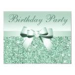 Printed Mint Green Sequins, Bow & Diamond Birthday 11 Cm X 14 Cm Invitation Card