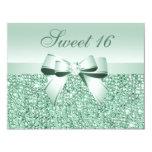 Printed Mint Green Sequins, Bow & Diamond Sweet 16 11 Cm X 14 Cm Invitation Card