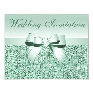 Printed Mint Green Sequins, Bow & Diamond Wedding 11 Cm X 14 Cm Invitation Card