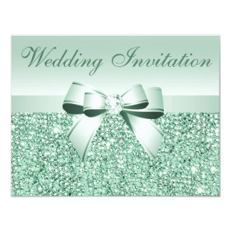 Printed Mint Green Sequins, Bow & Diamond Wedding Card