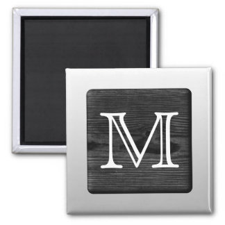 Printed Pattern and Custom Letter. Black and White Square Magnet