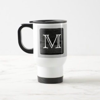 Printed Pattern and Custom Letter. Black and White Travel Mug