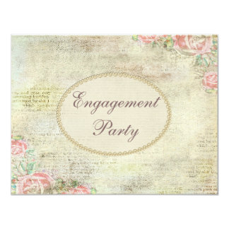Printed Pearls & Lace Shabby Chic Roses Engagement 11 Cm X 14 Cm Invitation Card