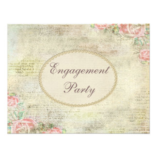 Printed Pearls & Lace Shabby Chic Roses Engagement Announcement