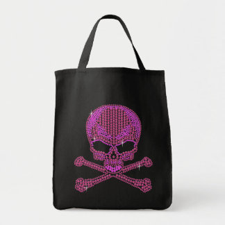 Printed Pink Rhinestone Skull & Crossbones